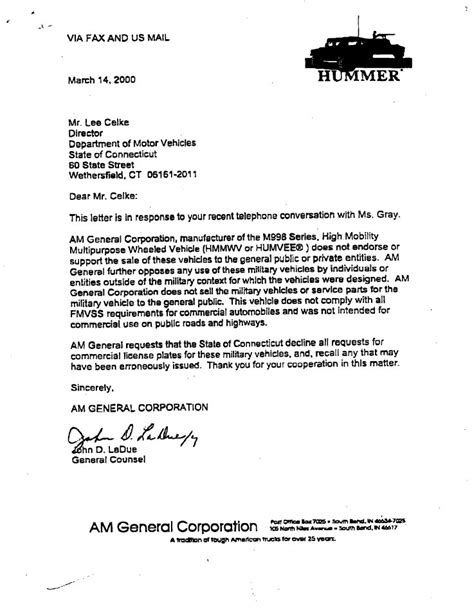 Sle Letter Transfer Vehicle Title Am General To Sell Hmmwv C Series To The G503 Vehicle Message Forums