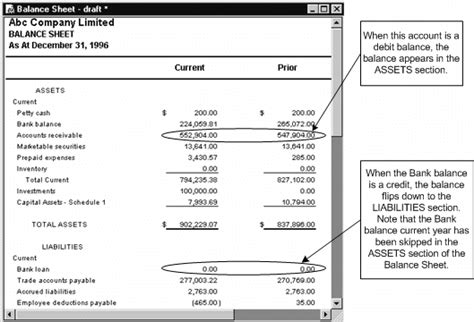 balance sheet account section flipping the bank account