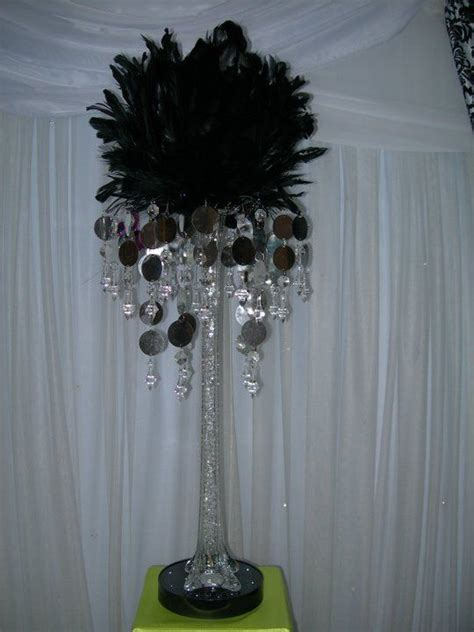 black feather centerpieces black feather centerpiece with silver gem vase topper