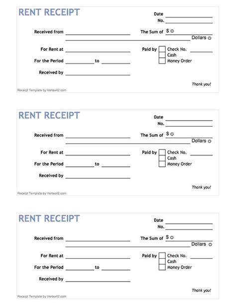 Sheets Receipt Template by Free Printable Rent Receipt Form Pdf From Vertex42