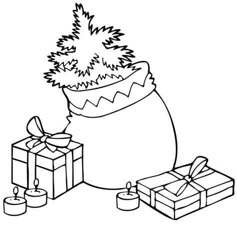 gift bag coloring page santa claus asks the deer to wait while he delivers