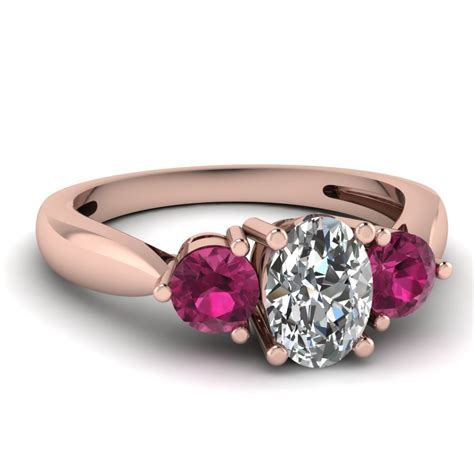 7 Engagement Rings From Since1910 by 3 Tapered Engagement Ring With Pink Sapphire In 14k