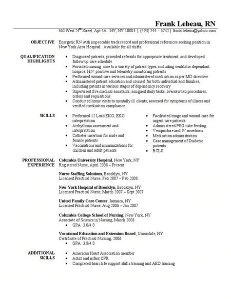 resume exles for rn registered resume sle sle resume registered
