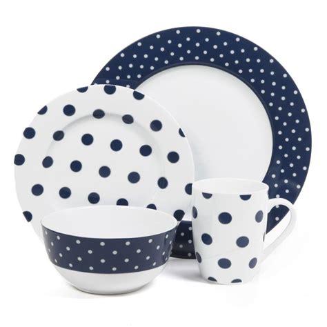 blue pattern dinnerware sets isaac mizrahi dot luxe navy blue 16 piece dinnerware set