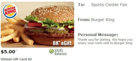 Burger King Gift Card - burger king free 5 gift card update