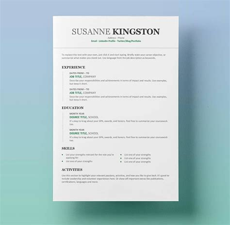 cv template free word resume templates for word free 15 exles for