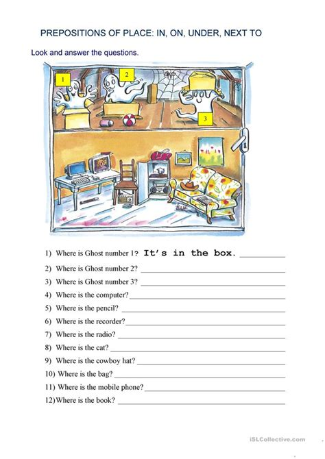 prepositions of place where is worksheet free esl