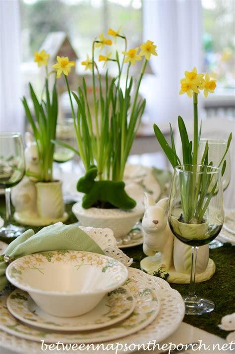spring table settings easter table setting with daffodil and moss centerpiece