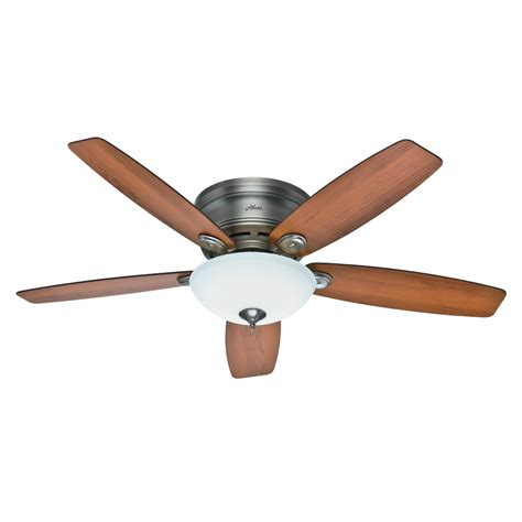 Low Profile Ceiling Fans With Led Lights Shop Low Profile Iv Plus Led 52 In Antique Pewter Flush Mount Ceiling Fan With Led Light