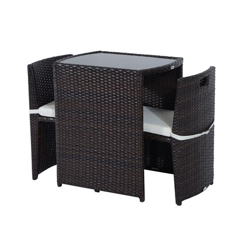 Rattan Patio Chairs Outsunny 3 Chair And Table Rattan Wicker Patio Nesting Furniture Set Rattan Furniture