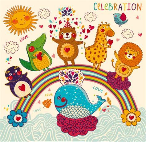 happy birthday animal stak design イラスト素材 free vector 4 you