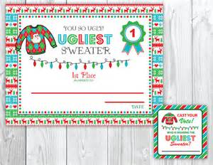 ugly sweater christmas party voting cards awards tacky