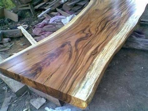 Top Table Fosil Kayu indogemstone monkey pod wood slab table