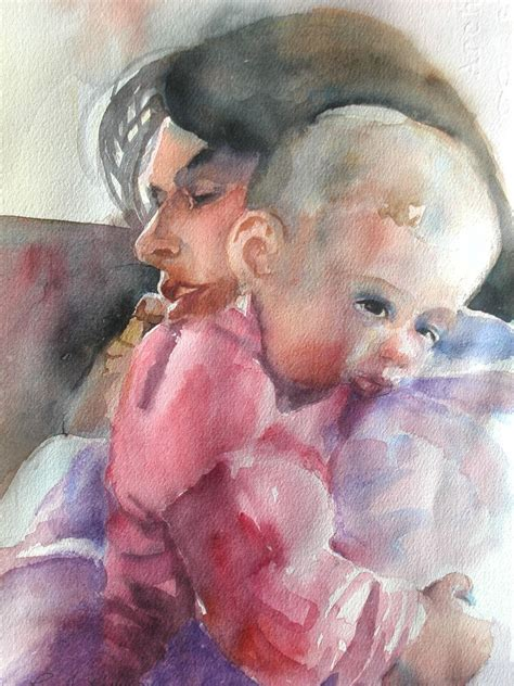 painting baby custom impressionist watercolor painting of a
