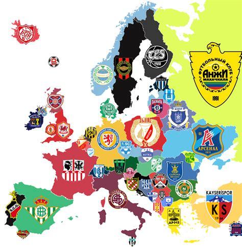 map   bottom finishing clubs  europe  soccer