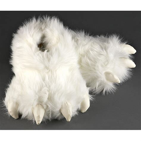 Furry White Creature Slippers 209606 Gag Unique Gifts At Sportsman S Guide