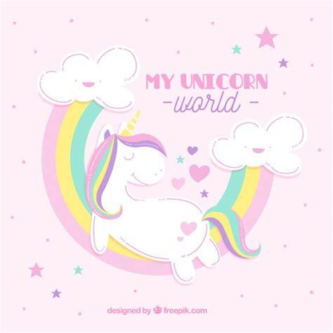 fondo de unicornio feliz brillante descargar vectores gratis fondo de unicornio con arcoiris en colores pastel