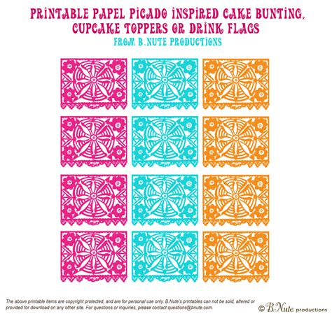 Bnute Productions Free Printable Papel Picado Inspired Mini Banner Free Printable Papel Picado Template