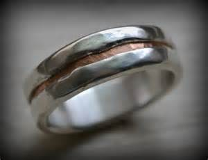 rustic mens wedding bands mens wedding band rustic silver and copper ring