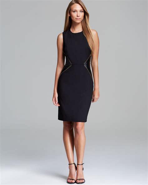 Ck Calvin Klein Sleevlees Dress lyst calvin klein dress sleeveless faux leather inset in