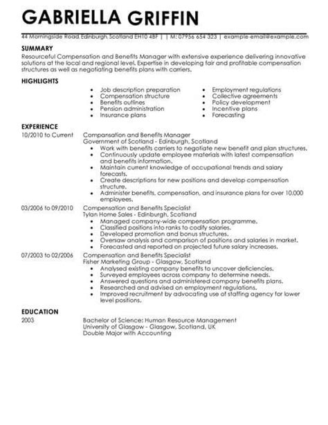 Cv Structure Template by Compensation And Benefits Cv Template Cv Sles Exles