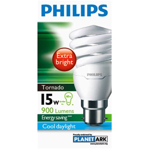 Lu Philips Tornado 15 Watt philips cfl tornado cool daylight 15w bc base each