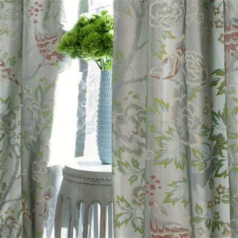 chinoiserie drapes anna french songbirds fabric in silver smoke from the