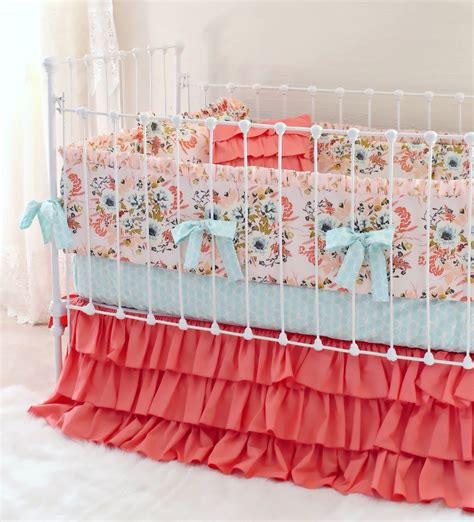 Blush Baby Bedding by Bumperless Crib Bedding Blush Pink Floral Lottie Da Baby