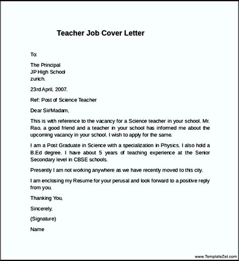 teacher job cover letter exle templatezet