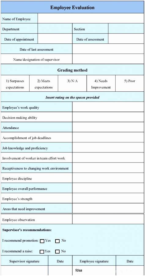 evaluation template 9 staff evaluation form template uoiuw templatesz234