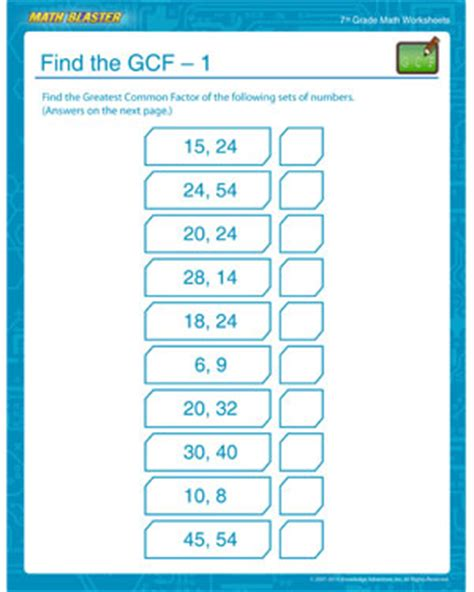 printable math worksheets lcm gcf find the gcf 1 printable math worksheets for seventh