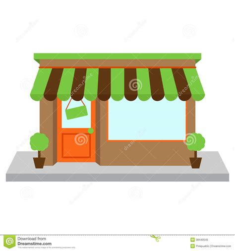 Window Awning Plans Vector Store Front Or Shop With Window Stock Image Image