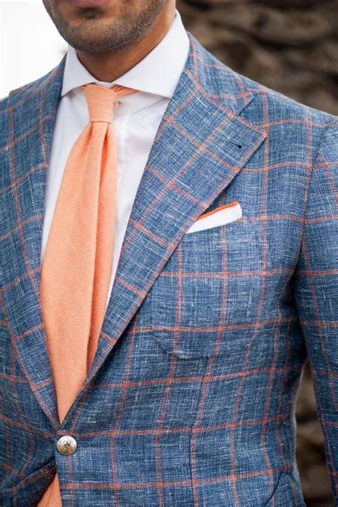 Dress Kemeja Pocket Square s blue check wool blazer white dress shirt orange