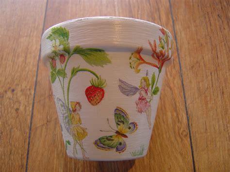 Decoupage Flower Pots - painted and decoupaged decorative flower pots