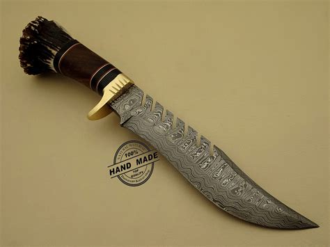 Damascus Handmade Knives - damascus bowie knife custom handmade damascus steel