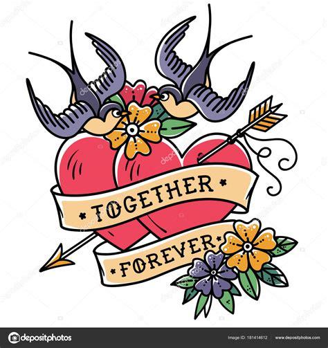 tatuaggi con rondini e fiori arte tatuaggio due cuori trafitti da freccia cuori