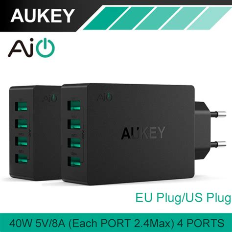 Multi Trip aukey multi usb 40w 8a travel wall charger adapter with