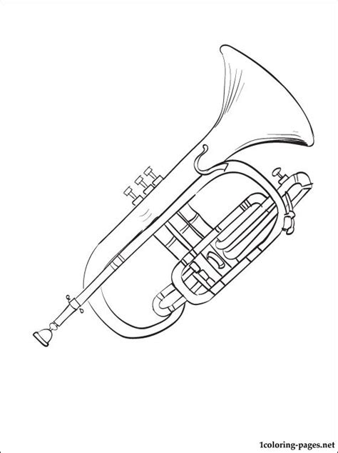 musical instrument coloring book pages cornet coloring page coloring pages