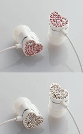 Miki Studed White Ear Pink rhinestone studded eardrops my geeky