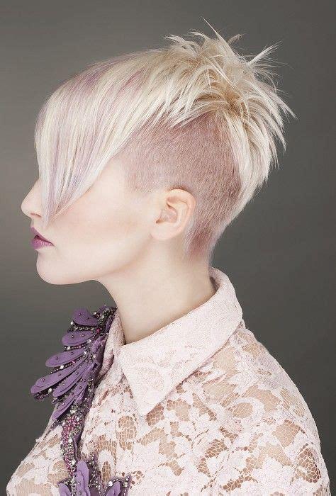 choppy hair cut side view short blonde straight coloured multi tonal choppy shaved