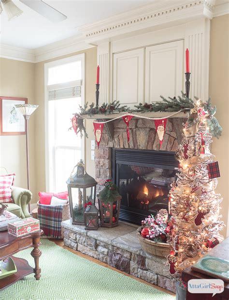 christmas moose home decor cozy fireplace mantel with rustic christmas decor atta