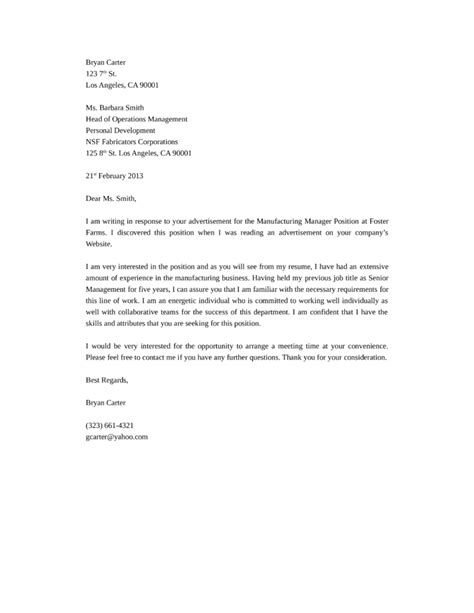 cover letter for manufacturing basic production manager cover letter sles and templates