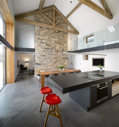 Modern Barn Kitchen by Historic Barn Reinvented Into Modern Home With Exposed Trusses Modern House Designs