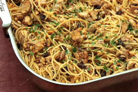 recipes with pasta pasta with roasted chicken raisins pine nuts and