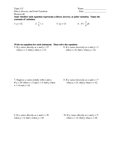 printables direct variation worksheet mywcct thousands