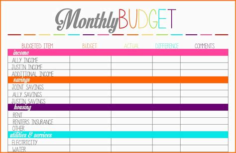 monthly budget calendar template 8 budget planner worksheet monthly bills template