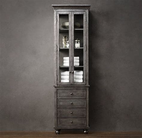 restoration hardware bathroom storage zinc tall bath cabinet new house inspiration pinterest