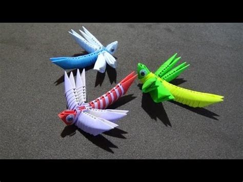 3d Origami Dragonfly - how to make a 3d origami dragonfly