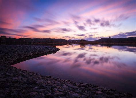 desktop themes reflections landscape nature stones sea water reflection pink sky blue