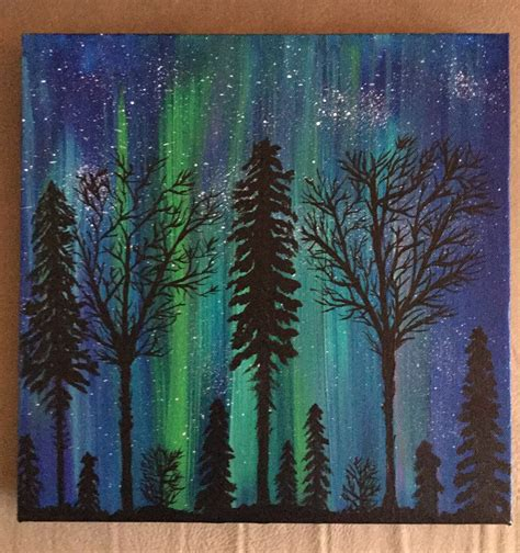 acrylic painting to light or light to 50 acrylic painting of the borealis northern
